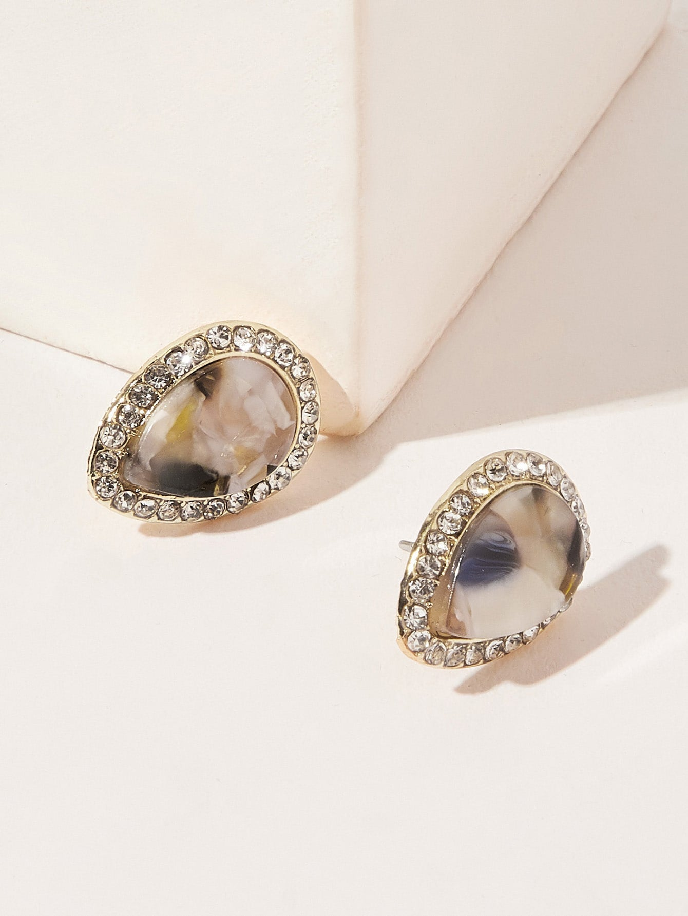 Multicolor 1pair Marble Pattern Pear Shaped Silver Metal Stud Earrings