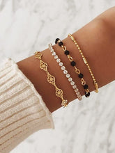 Load image into Gallery viewer, Golden Rhinestone & Black Bead 4pcs Bracelet Set
