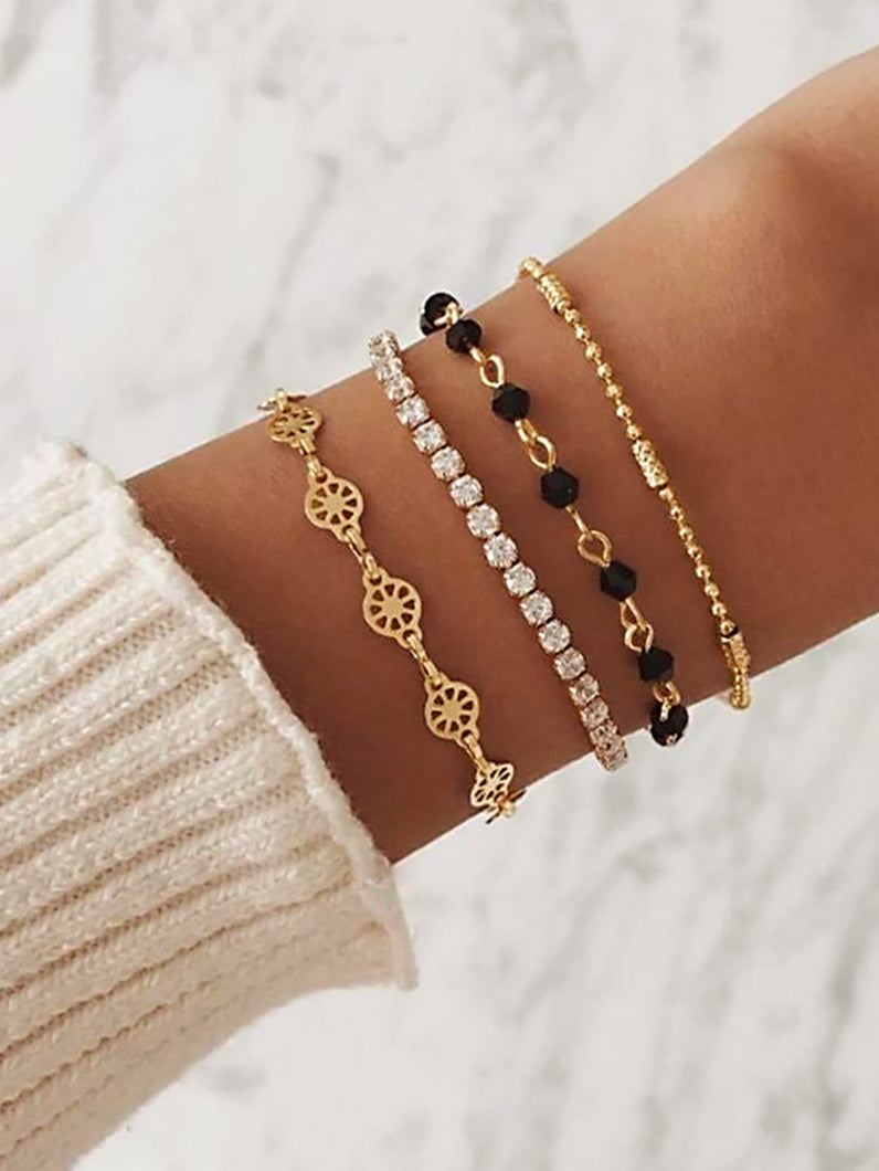 Golden Rhinestone & Black Bead 4pcs Bracelet Set