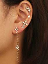 Load image into Gallery viewer, 4pack Grey And White Rhinestone Engraved Golden Stud Earrings Set