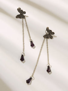 Grey Butterfly & Gemstone Decor Chain Drop Dangle Earrings