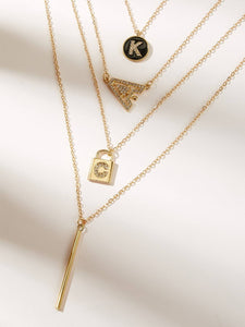 Golden 1pc Rhinestone Detail Lock Metal Pendant Layered Necklace