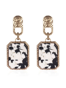 Black And White Cow Pattern Square Drop 1 Pair Earrings