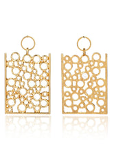 Load image into Gallery viewer, Golden 1pair Hollow Rectangle Metal Drop Dangle Earrings