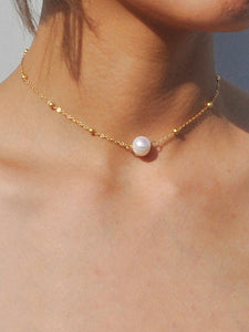 Golden Bead Detail Chain With Faux Pearl Necklace 1pc