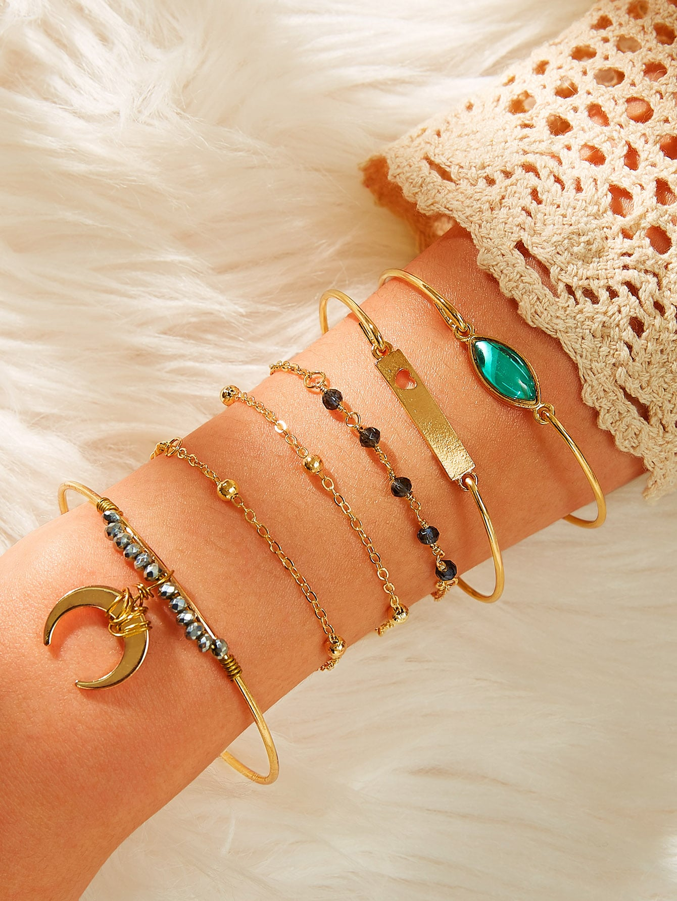 Multicolored Gemstone Moon & Bar Decor 6pcs Golden Chain Bracelet