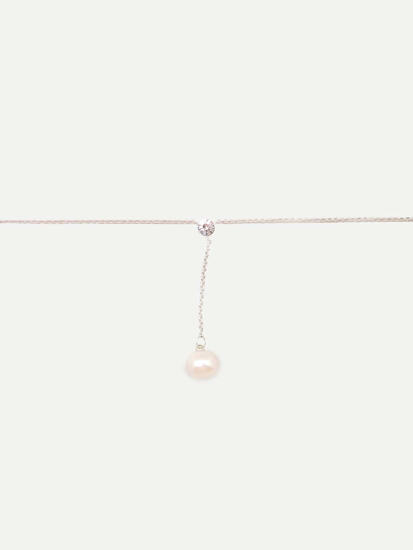 Grey Pearl Pendant Silver Metal Chain Necklace
