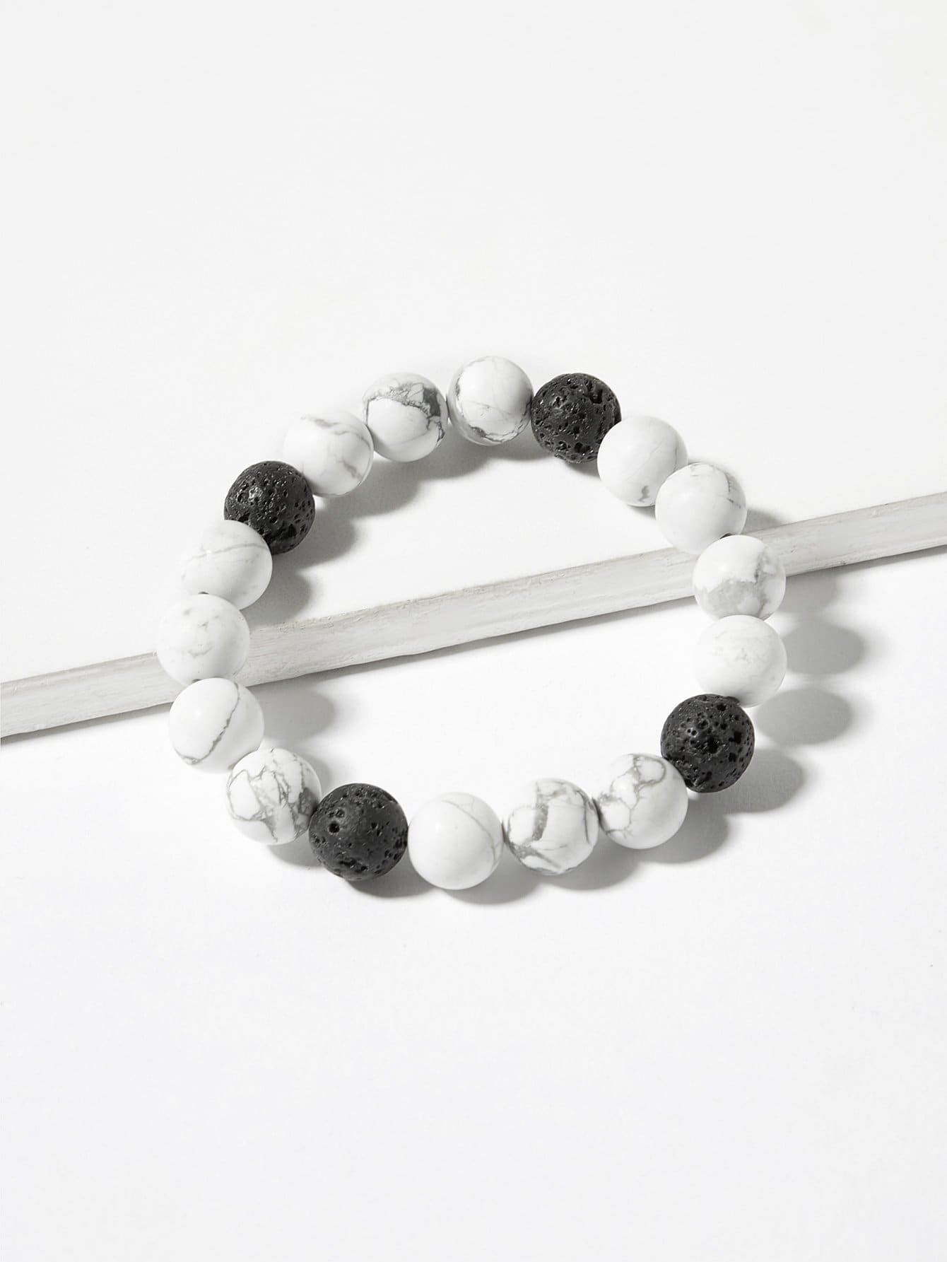 1pc Black And White Marble Pattern Beaded Bracelet