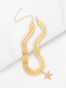 Golden Hollow Star Charm Choker