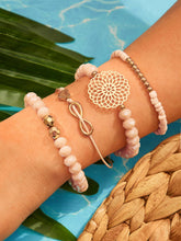 Load image into Gallery viewer, Pink And Golden Beaded Infinity & Hollow Round 4pcs Bracelet