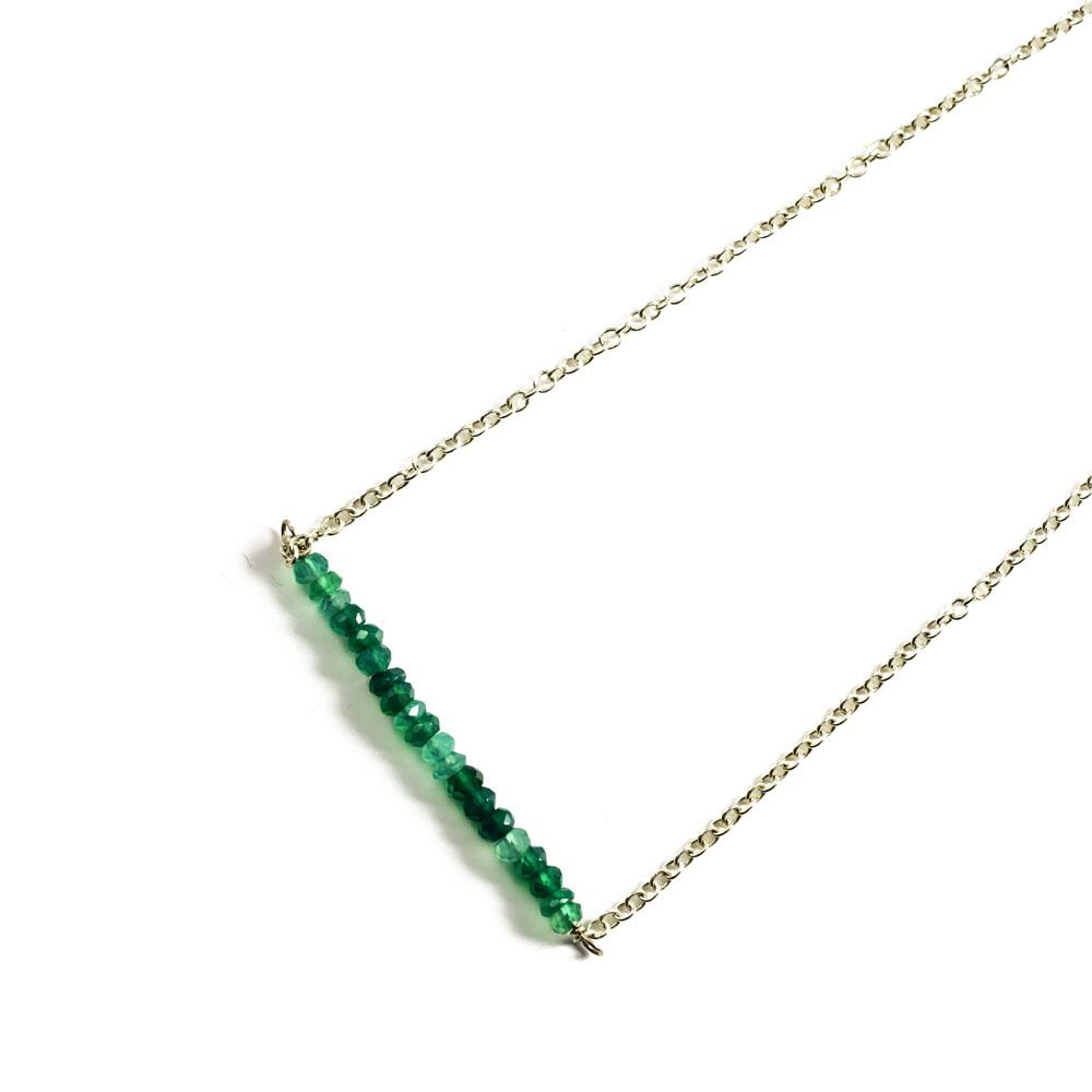 Raise The Bar With Semi-Precious Green Onyx Stones Delicate Silver Necklace