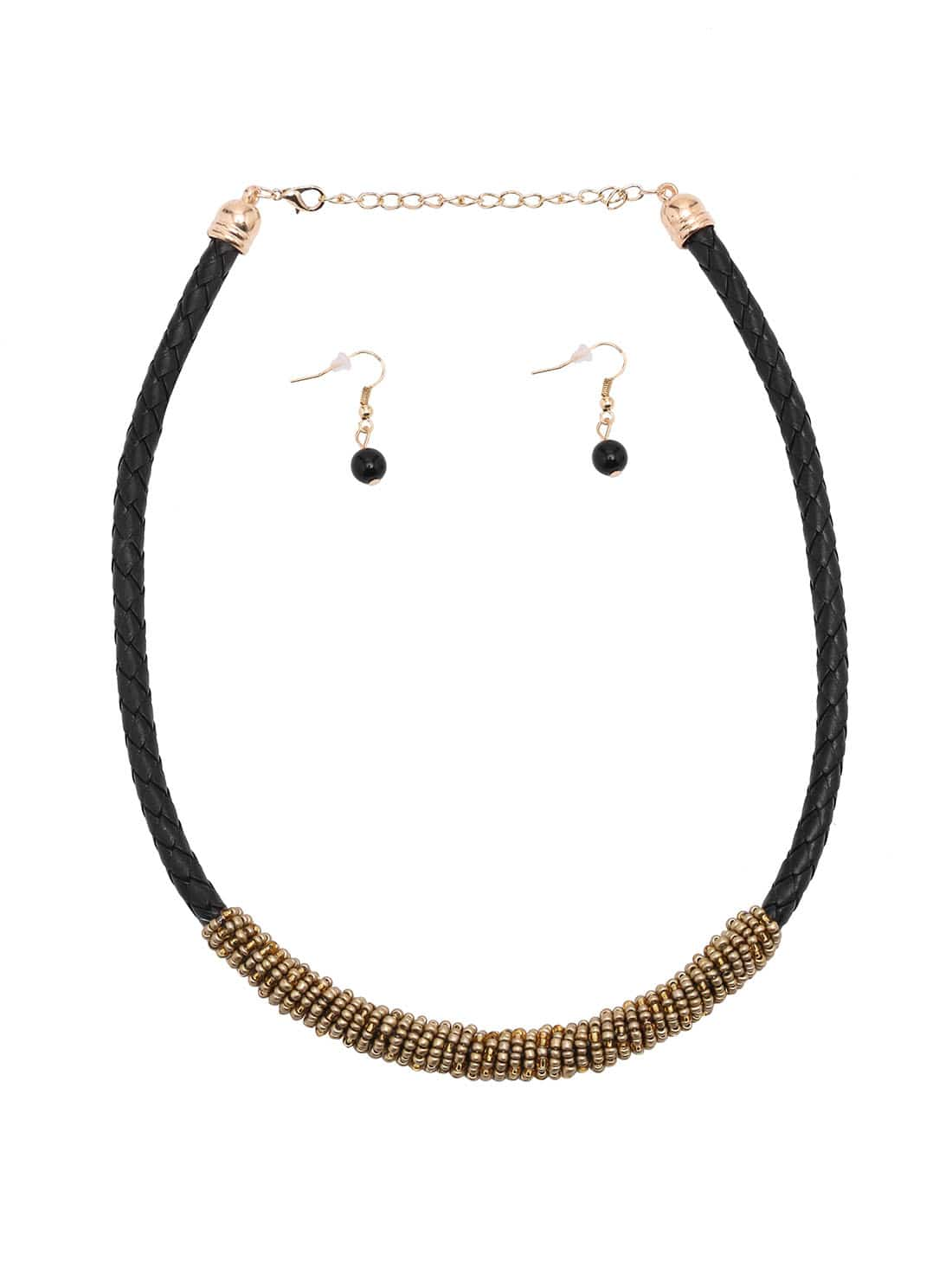Brown Beaded Woven Gold Metal Choker Jewelry Set