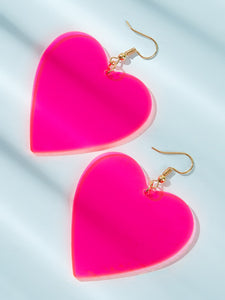 Neon Yellow And Pink Heart Drop 1 Pair Dangle Earrings