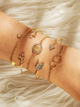 Load image into Gallery viewer, Arrow & Round Golden Detail Rhinestone And Crystal Bracelet Set 5pcs