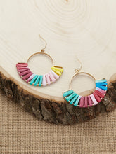 Load image into Gallery viewer, Multicolor Straw Woven Metal Hoop Dangle Earrings