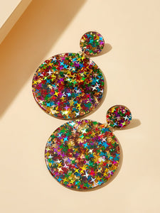 Multicolor Double Round 1pair Drop Dangle Earrings