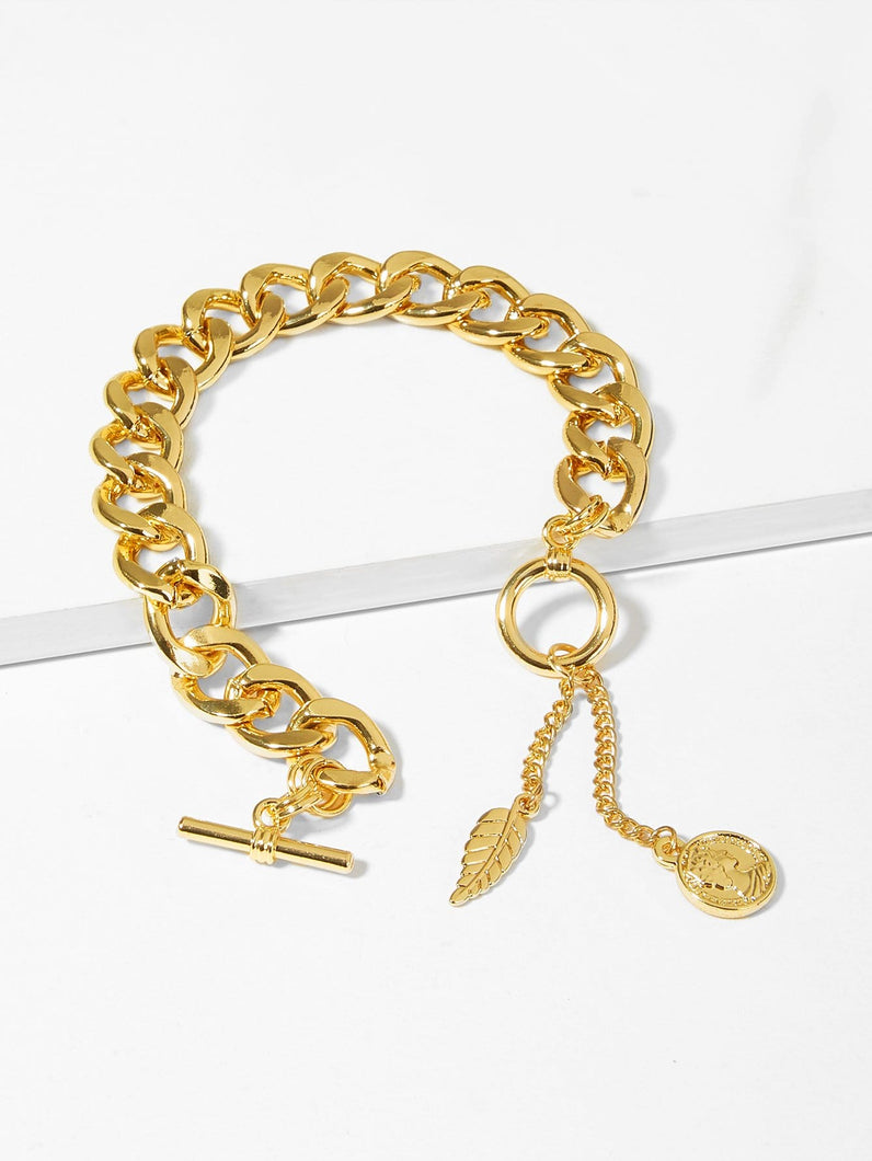 Golden Thick Leaf & Figure 1pc Crude Chain Bracelet