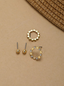 Golden Stud And Mini Star Metal  Hoop Earrings Set