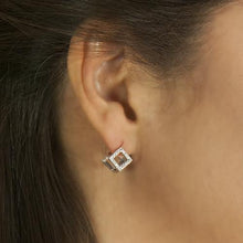 Load image into Gallery viewer, Pierre Cube Shaped With Crystals Stainless Steel Earrings