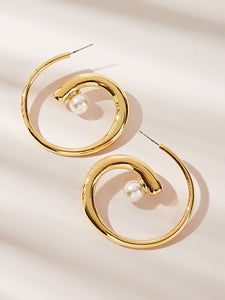 1 Pair Golden Faux Pearl Spiral Decor Hoop Earring