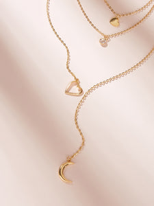 Golden 1pc Heart & Moon Charm Lariats Chain Necklace
