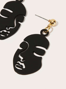 Black Face Design Drop Dangle 1 Pair Earrings
