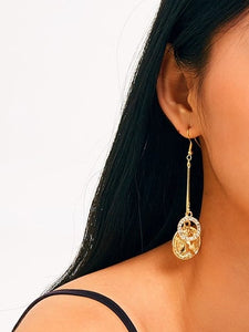 Golden Ring & Disc Rhinestone Engraved 1pair Drop Earrings