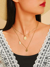 Load image into Gallery viewer, Golden 1pc Shell Charm Double Layered Chain Metal Pendant Necklace
