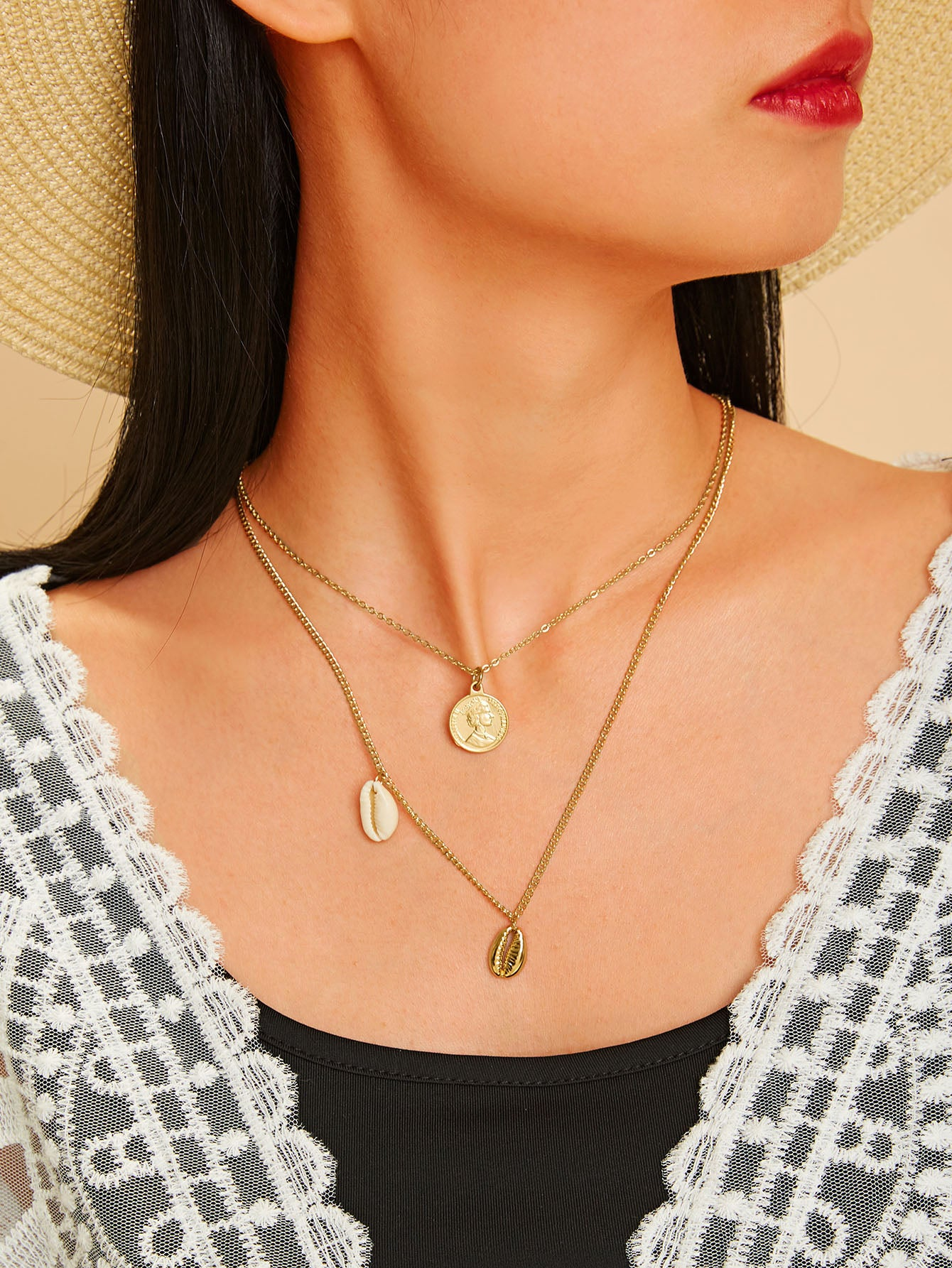 Golden 1pc Shell Charm Double Layered Chain Metal Pendant Necklace