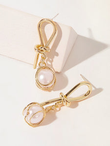Golden Faux Pearl Decor 1pair Spiral Drop Dangle Earring