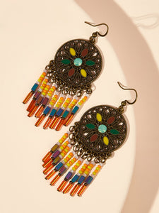 Multicolor 1pair Hollow Round Beaded Tassel Drop Dangle Earrings