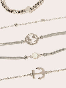 Silver And Grey Anchor & Heart Bracelet Set 5pcs