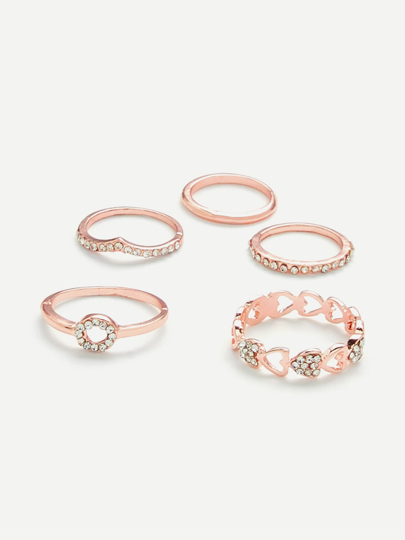 Golden Heart With Rhinestone 5pcs Ring Set