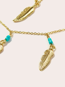Golden 1pc Leaf Pendant Metallic Multi Layered Necklace