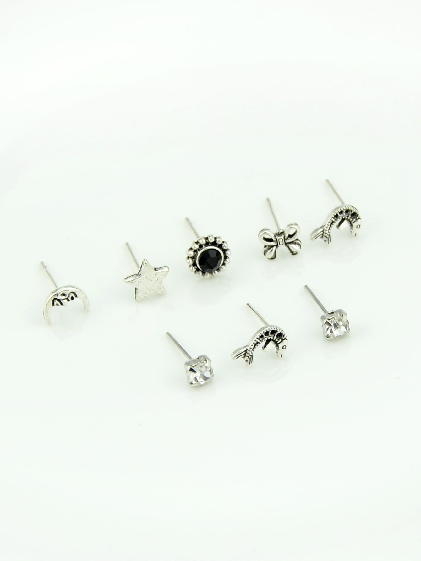 Ethnic Grey Multi-Element Stud 8pcs Earrings Set