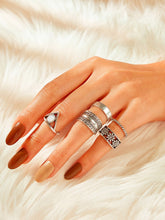 Load image into Gallery viewer, Silver 5pcs Floral Decor Rings