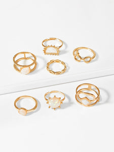 Double Layered Gold 7pcs Ring With Gemstone