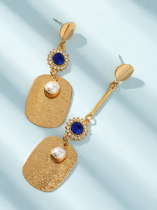 Blue Gemstone With Pearl Decor Golden Dangle 1 Pair Earrings