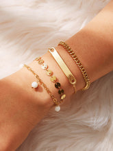 Load image into Gallery viewer, Golden Bar & Disc Detail Chain Bracelet Set 4pcs