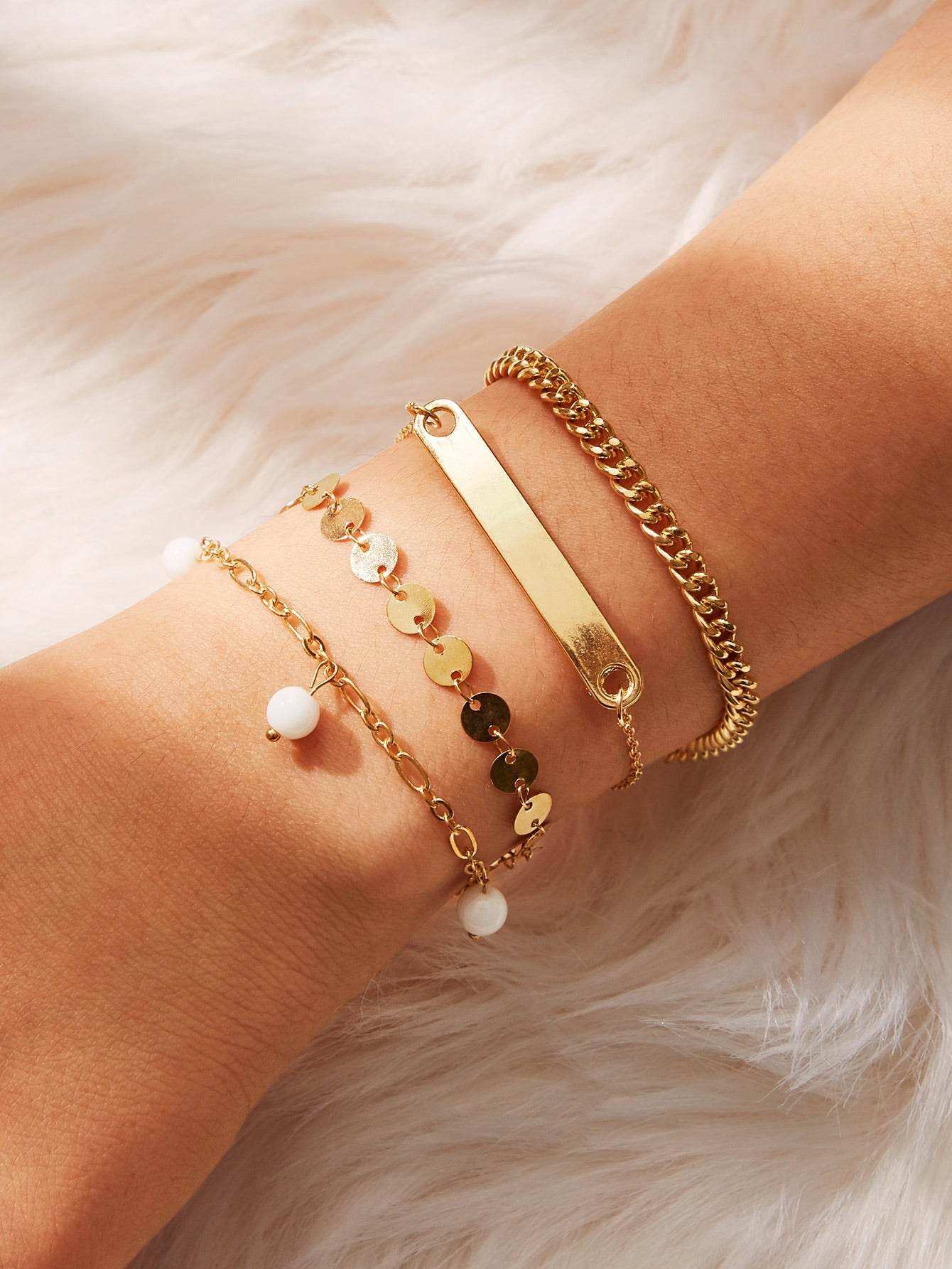 Golden Bar & Disc Detail Chain Bracelet Set 4pcs