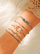 Load image into Gallery viewer, 5pcs Grey Wing & Bar Decor Link Chain Bracelet