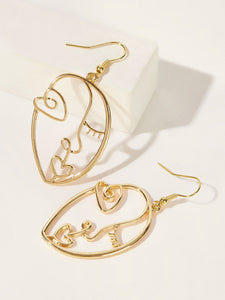 Golden Figure Shaped 1pair Drop Dangle Earring