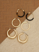 Load image into Gallery viewer, Golden Triple Metal Set Tortoise Hoop Earrings