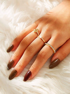 3pcs Golden Shell & Faux Pearl Ring