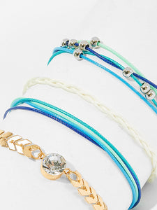 Multicolor 4pcs Rhinestone Detail Alloy Layered String Anklet