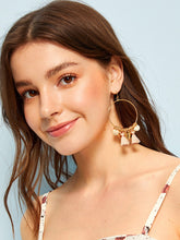 Load image into Gallery viewer, 1pair Golden Shell & Tassel Drop Hoop Earrings