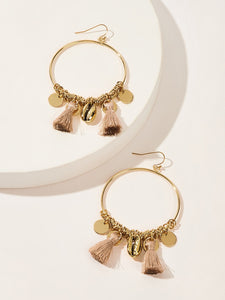 1pair Golden Shell & Tassel Drop Hoop Earrings