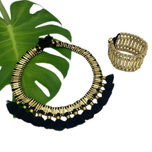 Load image into Gallery viewer, Golden Beads With Cotton Thread Kada Cuff