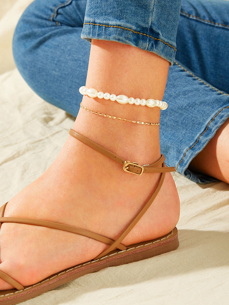 Golden Chain With Faux Pearl Decor 1pc Anklet