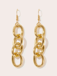 1pair Gold Chain Design Alloy Drop Dangle Earrings